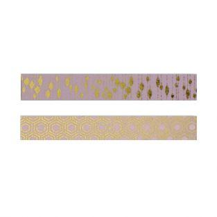 2 pink masking tapes with golden patterns