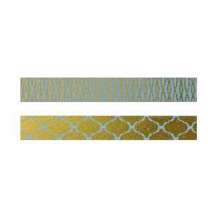 2 cintas adhesivas oro y azul con diseños