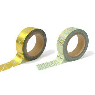 2 blue & gold masking tapes with patterns