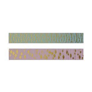 2 cintas adhesivas rosa y azul con diseños dorados