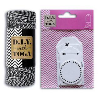 24 etiquetas perforadas blancas + cordel blanca & negra 100 m