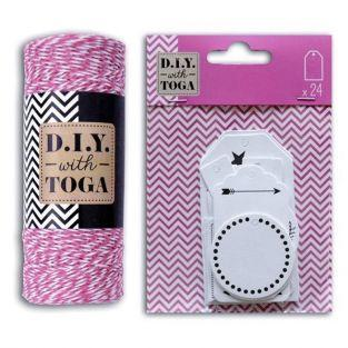 24 white perforated labels + white & fuchsia twine 100 m