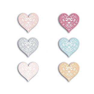 48 formes découpées cœurs - corail-pêche-bleu-rose-gris