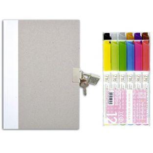 Diario con candado + 12 marcadores con brillo