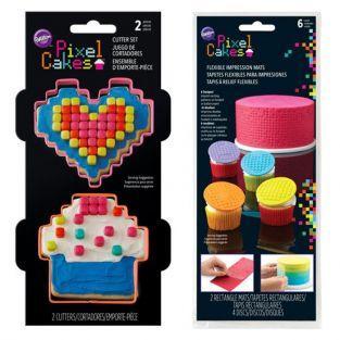 Cortadores de galletas + placa de textura - Píxeles
