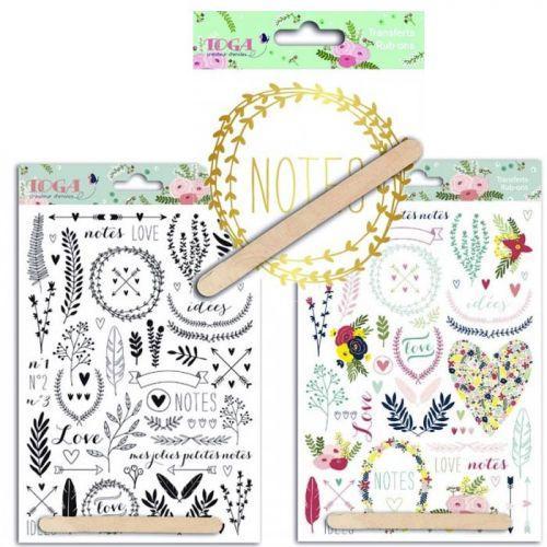 3 planches décalcomanies Lovely Flowers - Doré, Couleur & Noir