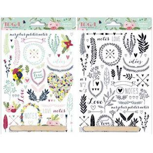 2 Lovely Flowers Decals - Color & Black