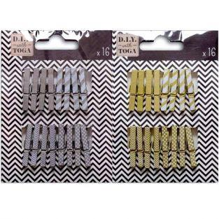 32 mini wooden clothespins - golden & silver