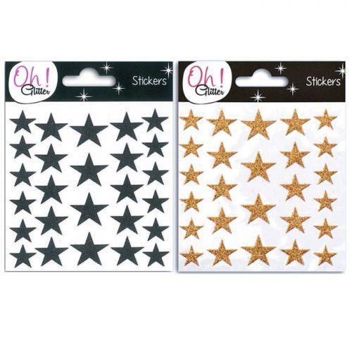 52 stickers étoiles à paillettes - noires et cuivrées