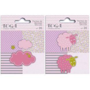 40 formes découpées moutons et nuages rose-vert-gris