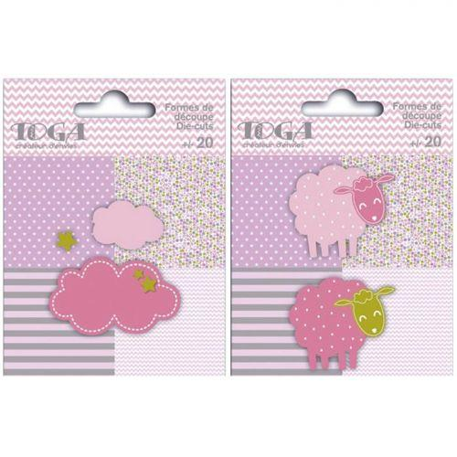 40 sheeps and clouds Die-cuts - pink-green-gray
