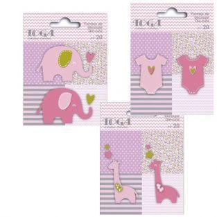 60 formes découpées girafes, éléphants et body rose-vert-gris