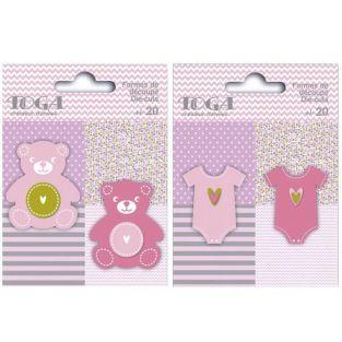 40 formas cortadas ositos y ropa de bebé rosa-verde-gris