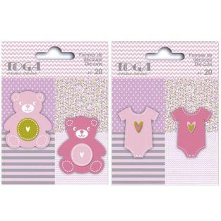 40 teddies & baby clothes Die-cuts - pink-green-gray
