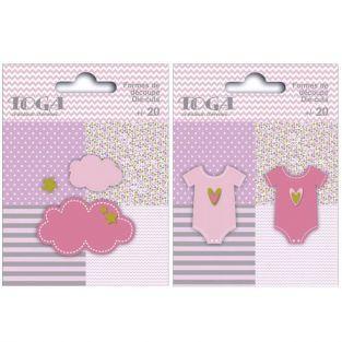 40 formas cortadas nubes y ropa de bebé rosa-verde-gris