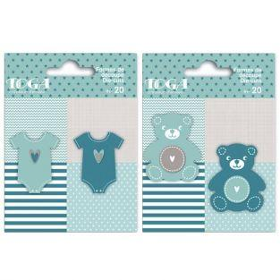 40 blue teddies & baby shirt Die-cuts