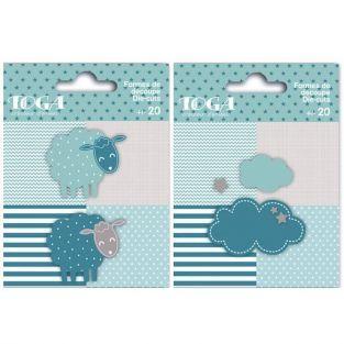 40 formes découpées moutons et nuages bleu taupe