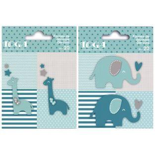 40 blue elephants and giraffes Die-cuts