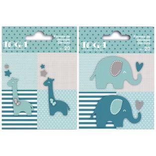40 formes découpées éléphants et girafes bleu taupe