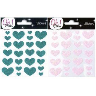 48 stickers cœurs à paillettes - rose & turquoise