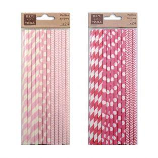 48 pailles en papier - fuchsia et rose