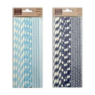 48 pailles en papier - bleu clair et bleu marine