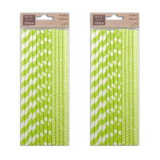 48 pailles en papier vertes