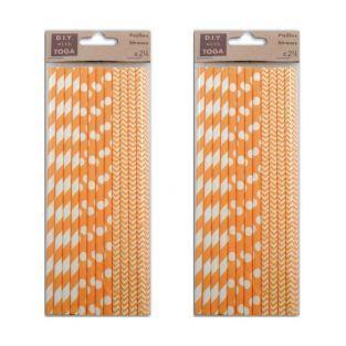 48 pailles en papier orange