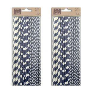 48 pailles en papier bleu marine