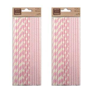 48 pailles en papier rose