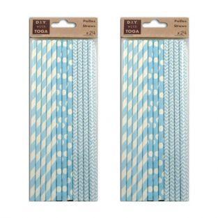 48 pailles en papier bleu ciel