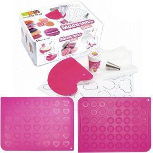 Coffret de préparation + tapis silicone pour Macarons ronds & cœurs