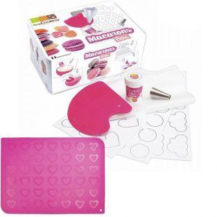 Coffret de préparation + tapis silicone pour Macarons cœurs