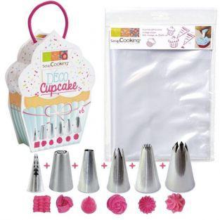 6 douilles et 6 poches à douilles jetables pour Cupcakes