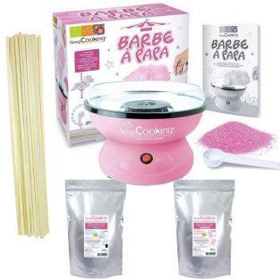 Coffret Barbe à papa - Machine + préparation rose 400 g et bleue 400 g + 100 bâtonnets