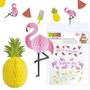 Kit Cumpleaños Tropical - Decoraciones de oblea + Esferas de papel + Guirnalda