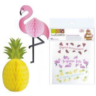 Kit anniversaire Tropical - décors azyme et boules alvéolées
