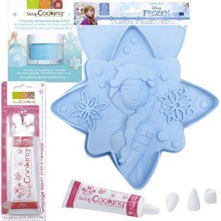 Molde de pastel Estrella Frozen + polvo alimentario azul + pluma glaseado blanco