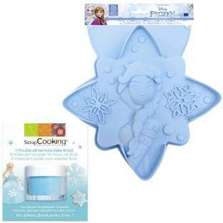 Molde de pastel Frozen + Polvo alimentario azul