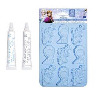 Moule à chocolats Reine des Neiges + 2 stylos glaçage bleu et blanc