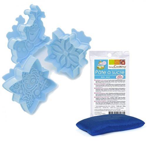 Coffret découpoirs Reine des Neiges + pâte à sucre bleue 100 g