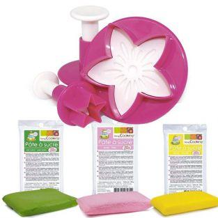 Sugar paste 300 g + star, leaf & flower Cookie Cutters