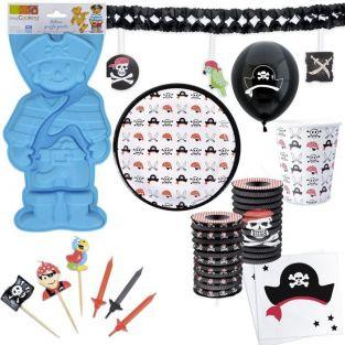 Pirate birthday Box with cake pan + disposable tableware + decors