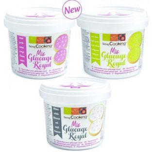3 préparations glaçage blanc, rose et vert clair