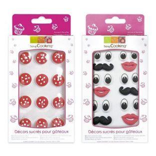 Decoraciones dulces setas, ojos, boca y bigotes