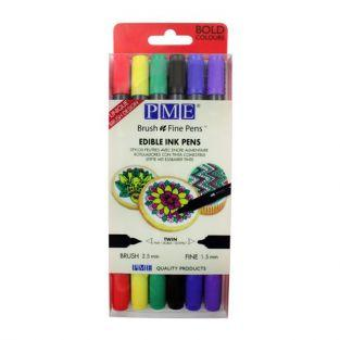 6 Double-tip edible ink pens - bright colors
