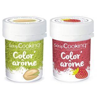 2 colorants alimentaires - arômes fraise et pistache