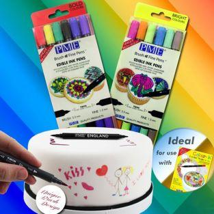 6 Double-tip edible ink pens - light colors