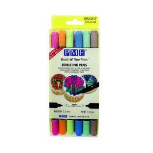 6 Double-tip edible ink pens - light colors