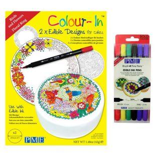 Birds Wafer disks + 6 bright edible ink pens